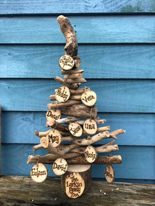 driftwood family tree with personalised name tags