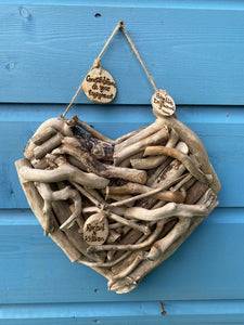 PERSONALISED DRIFTWOOD HEART/MADE ESPECIALLY FOR YOU