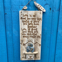 Load image into Gallery viewer, PERSONALISED LOVE WALL HANGING/ PEBBLE ART & PYROGRAPHY