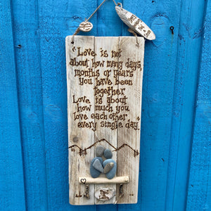 PERSONALISED LOVE WALL HANGING/ PEBBLE ART & PYROGRAPHY