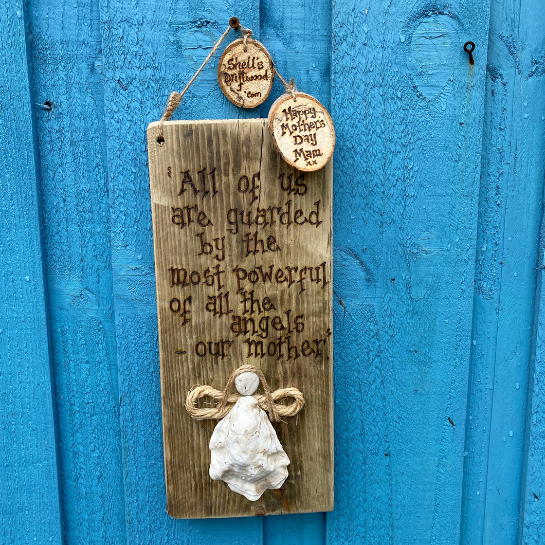 PERSONALISED OYSTER ANGEL PLAQUE/ MADE ESPECIALLY FOR YOUR MUM