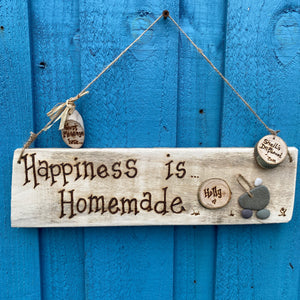 PERSONALISED BABY PEBBLE ART PLAQUE/ HAPPINESS IS HOMEMADE
