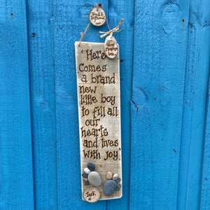 PERSONALISED BABY PEBBLE ART PLAQUE/ HERE COMES A BRAND NEW LITTLE BOY