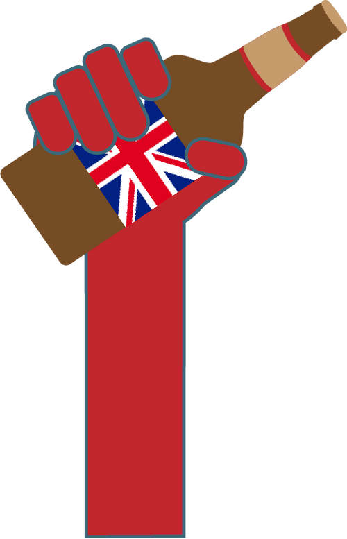 Graphic of red arm holding British beer bottle