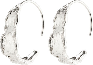 Compass Silver Semi-Hoop Earrings