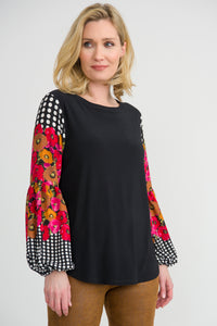 Floral Polka Dot Long Sleeved Blouse