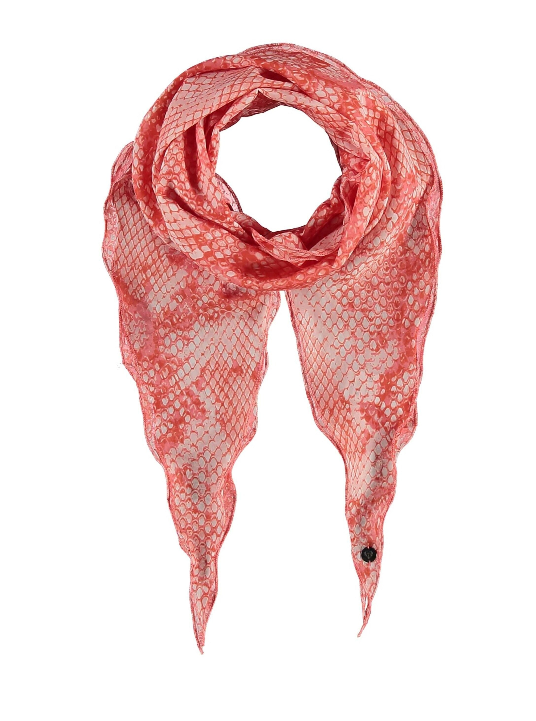 Reptile In Frills Cotton Silk Print Narrow Diamond Scarf