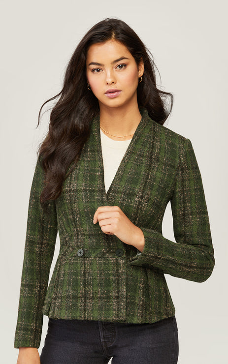 AERIN Fit and Flare Wool Blazer with Box Pleats