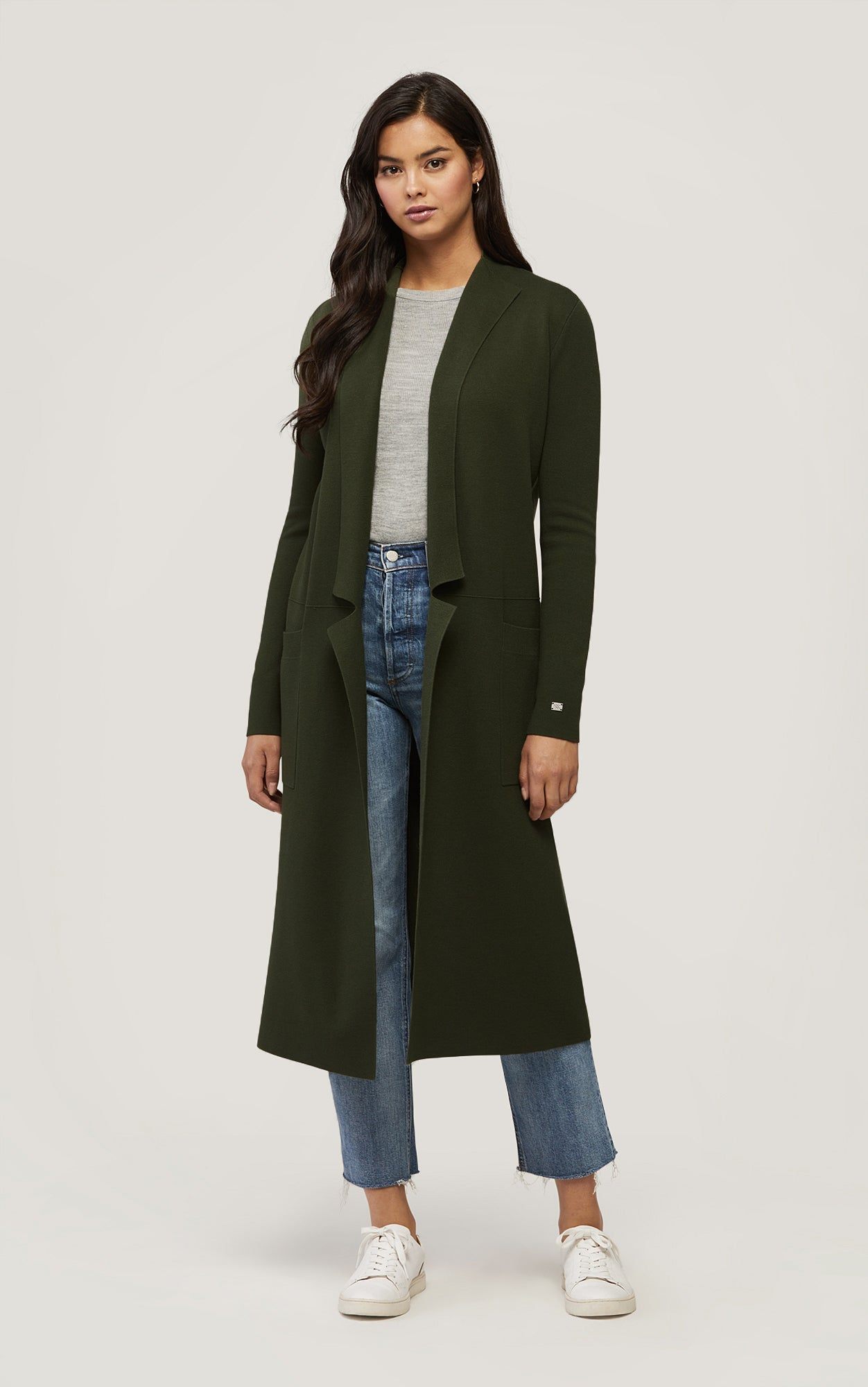ANNABELLA Long Knit Cardigan Moss