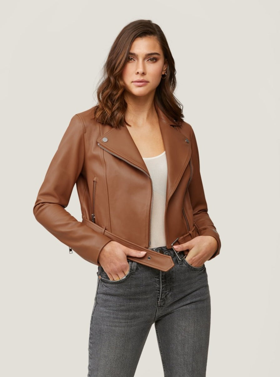 CLODIA Cropped Leather Moto Jacket