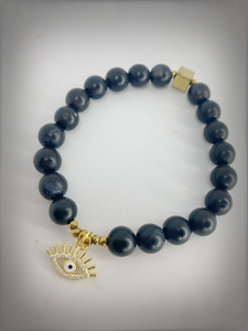 CHARMED COLLECTION - Gold Evil Eye Charm with Black Obsidian Bracelet