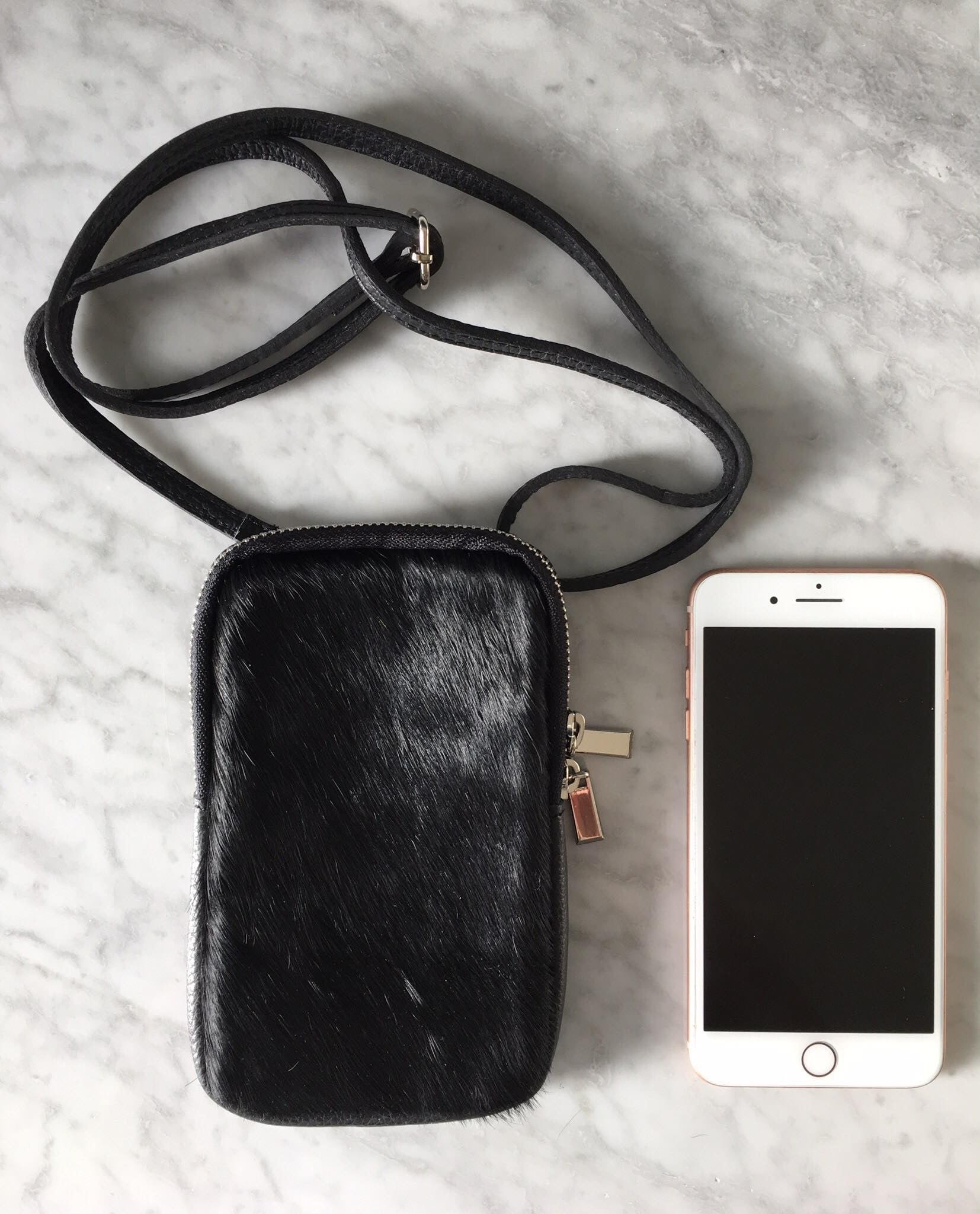 Pony Hair Phone Case Purse with Adjustable/Removable Leather Strap