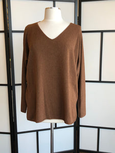 V-Neck Knit Walnut Sweater