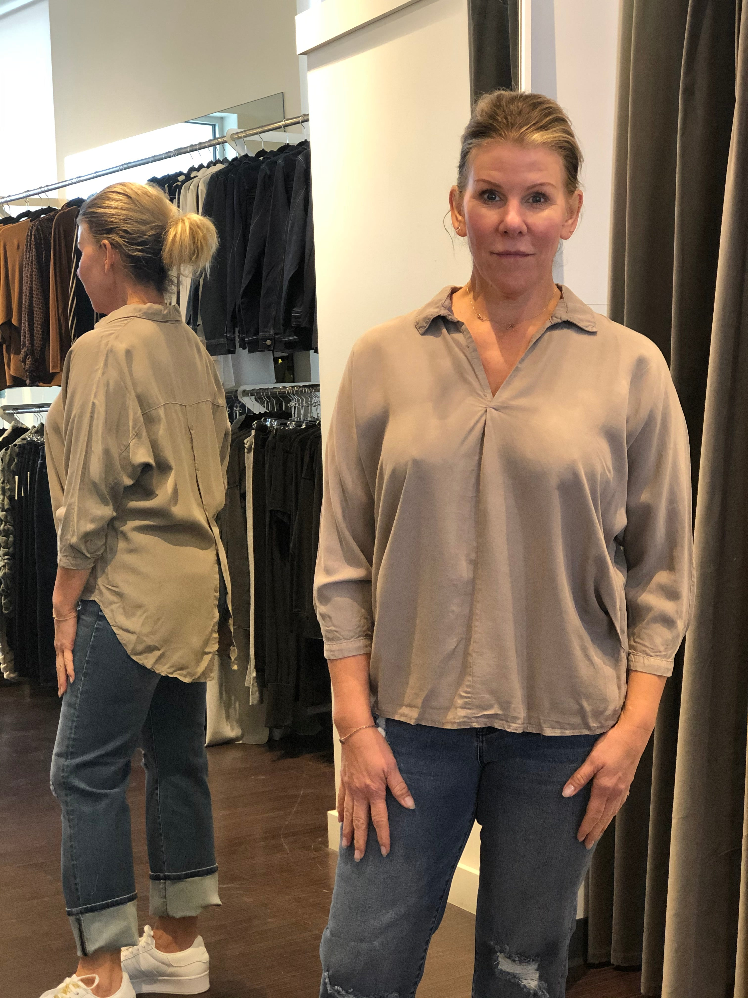 Oversize Button Back Shirt Taupe