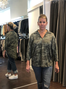 Printed Oversize Button Back Shirt Olive Camo