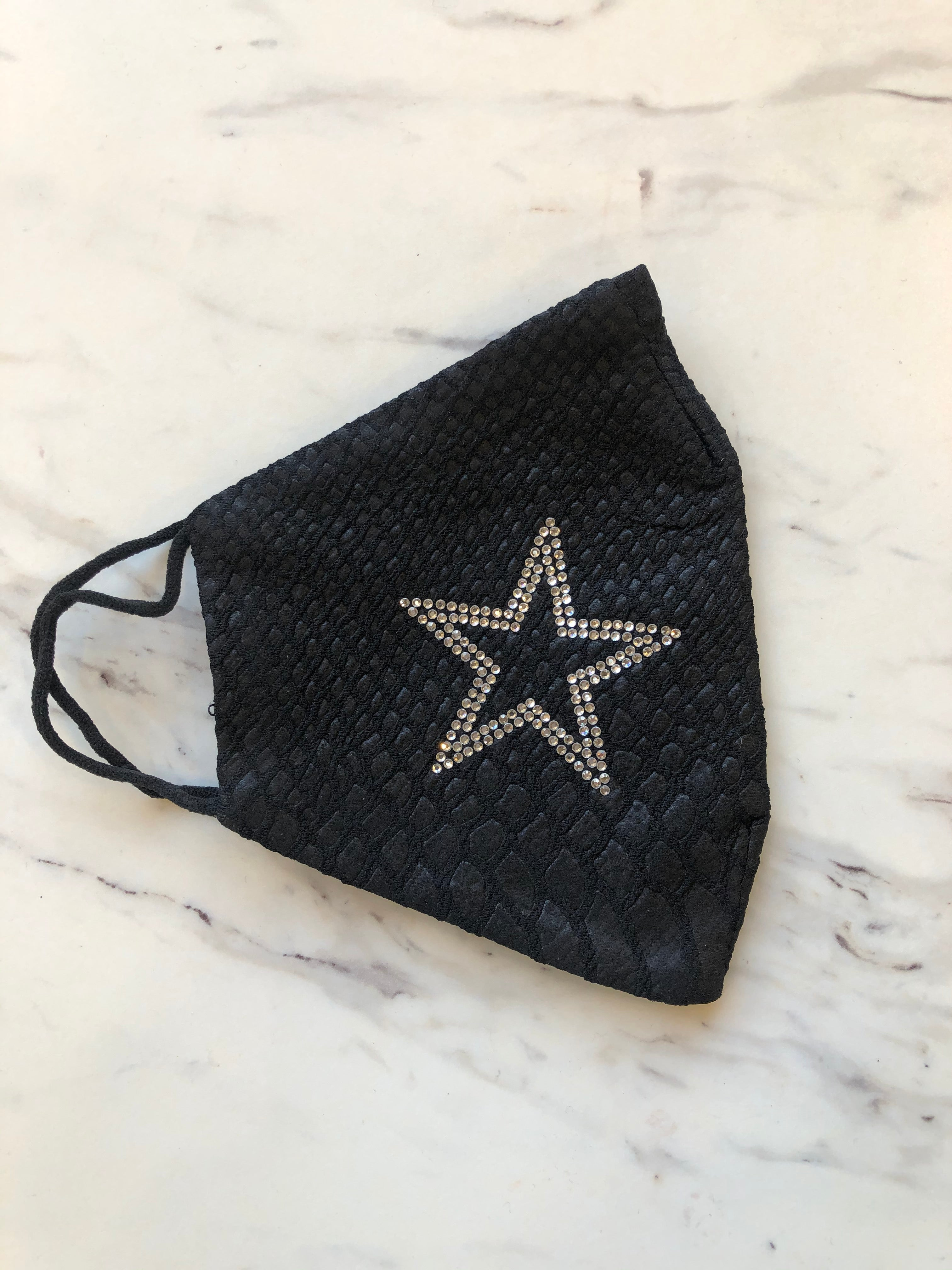 Faux Leather Mask Silver Glitter Star