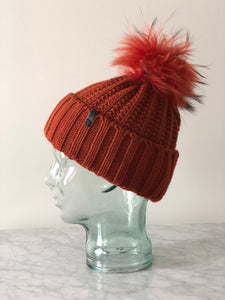 Knit Toque with Removable Fur Pom Pom - Rust