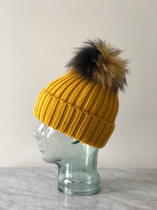 Knit Toque with Removable Fur Pom Pom - Yellow