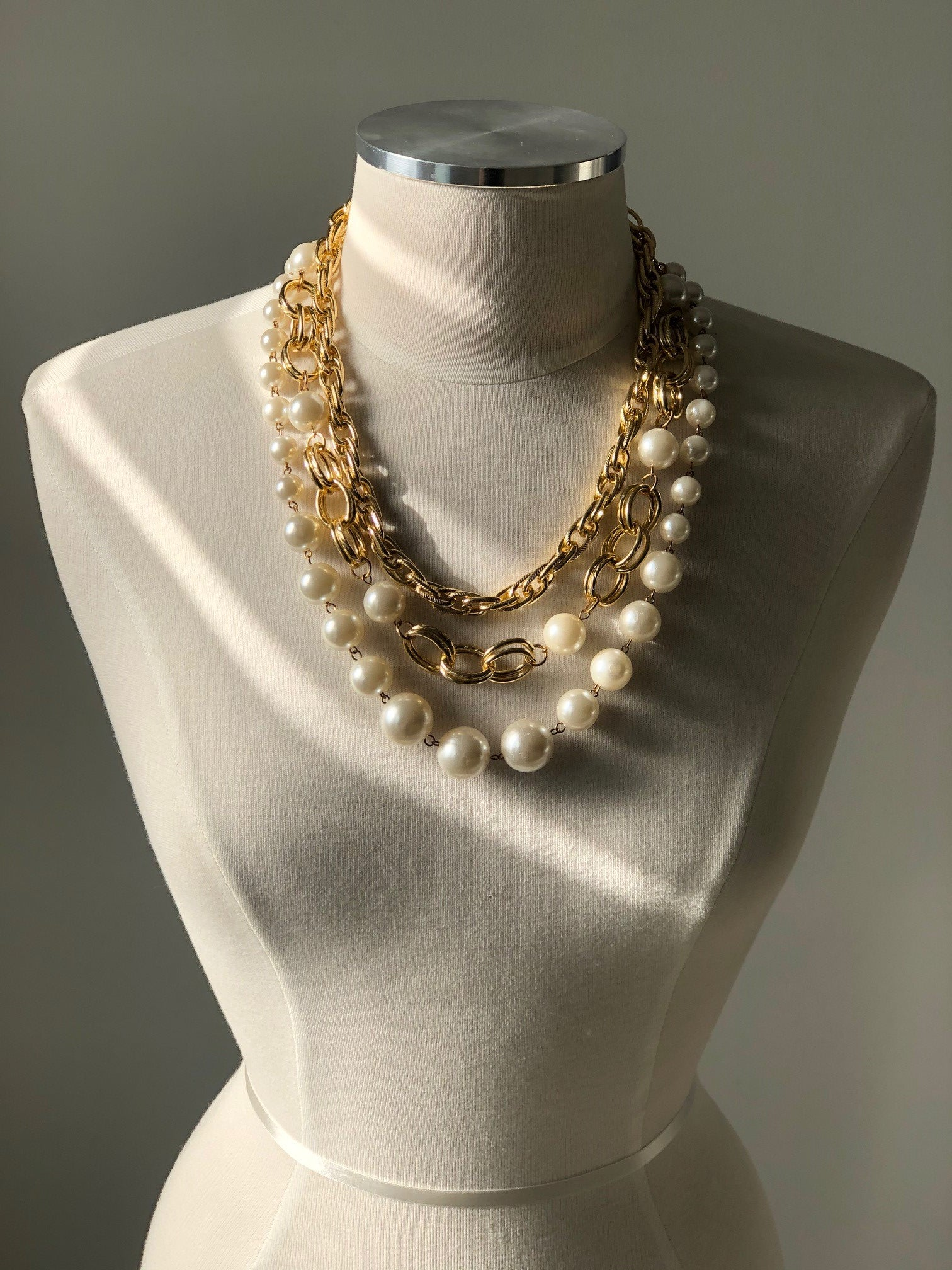 Layered Pearl Statement Necklace