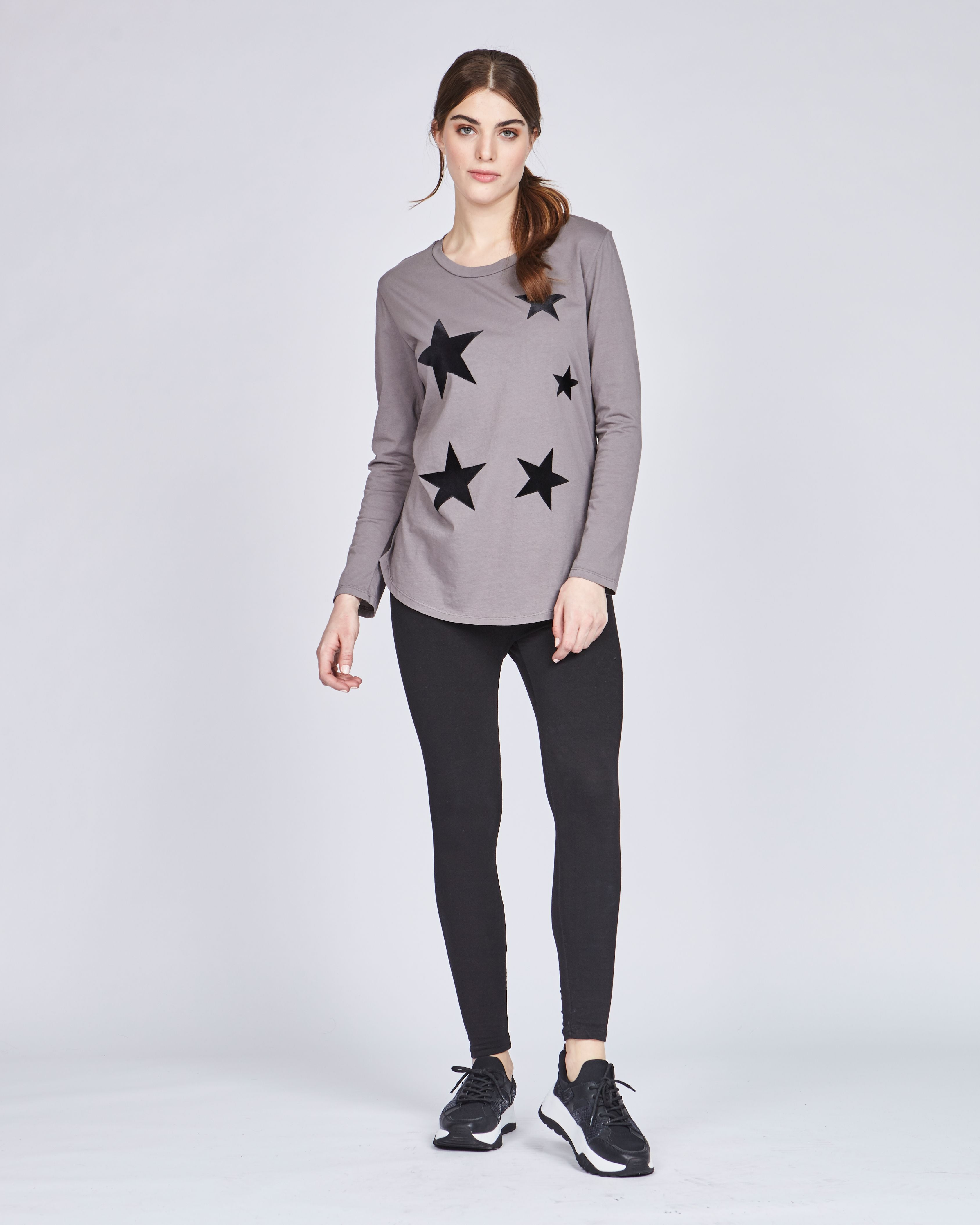 Long Sleeve Cotton T with Felt Stars