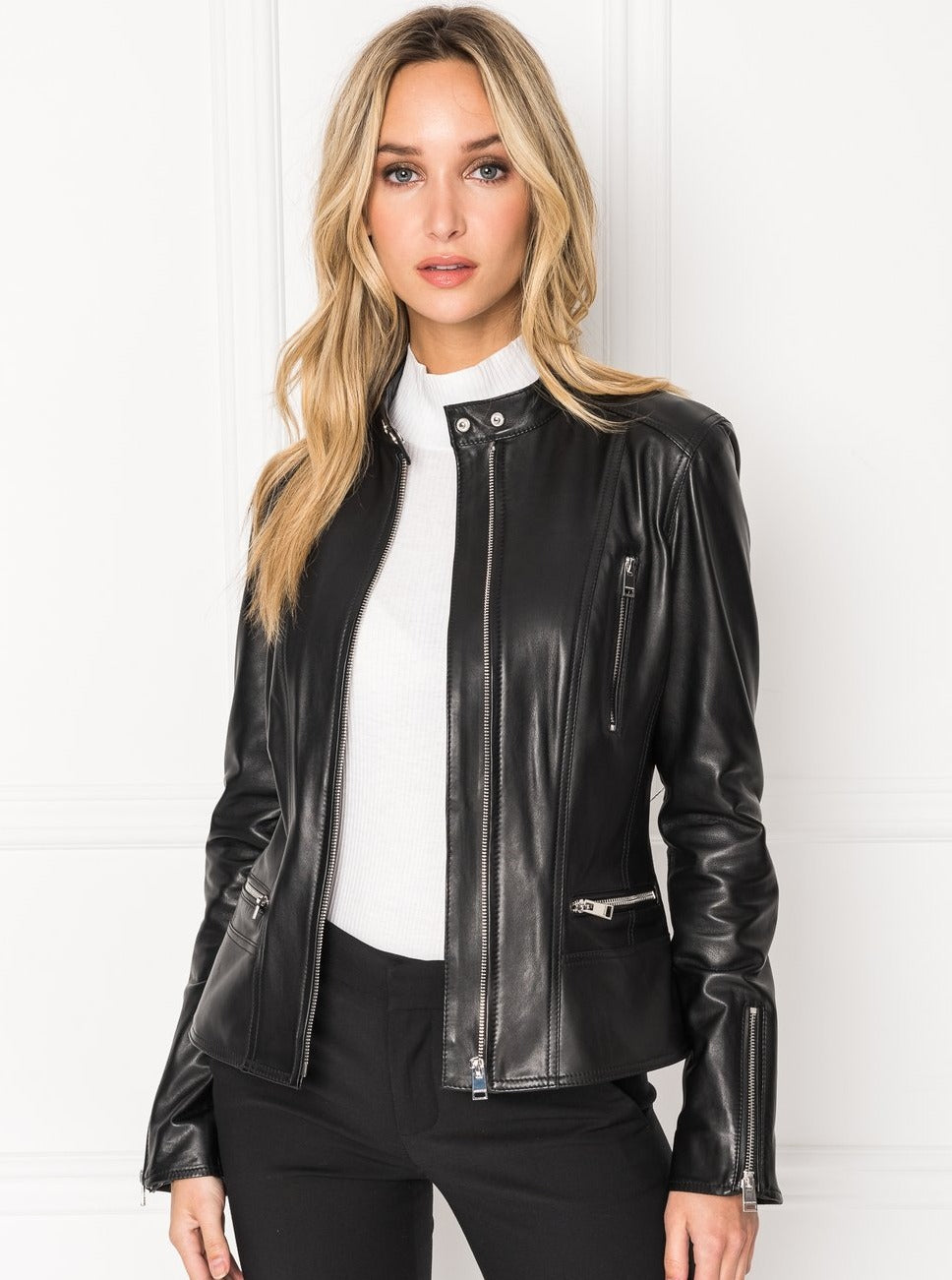 MERYL Front Zip Leather Jacket