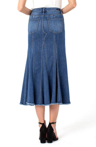 Multi Panel Long Denim Skirt