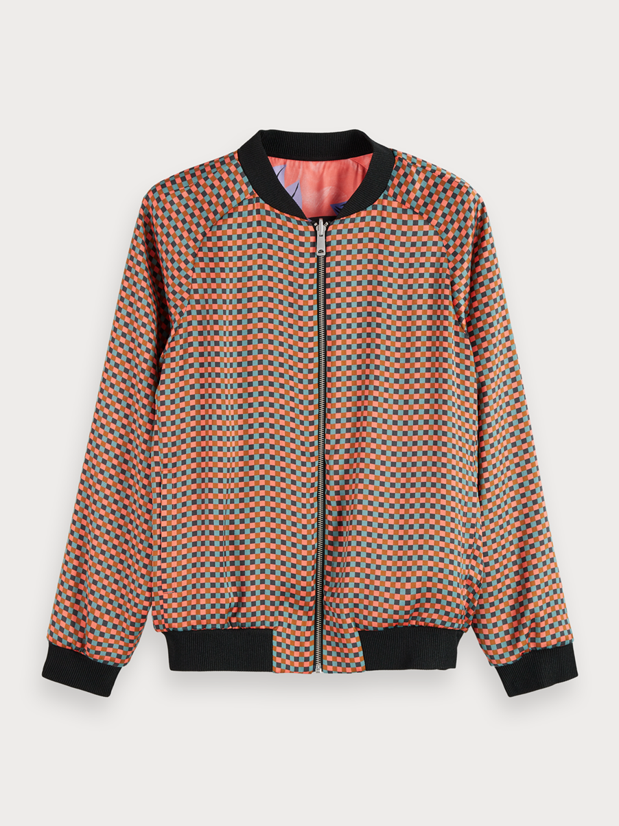 Reversible Printed Long Sleeve Bomber Jacket