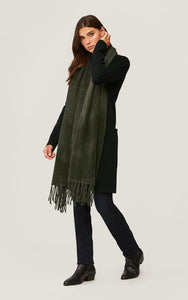 TAYLAR Furry Knit Scarf with Fringe