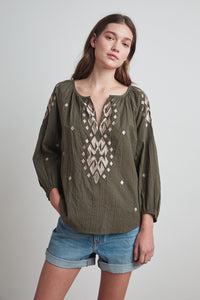 KLARA Ikat Embroidery Blouse