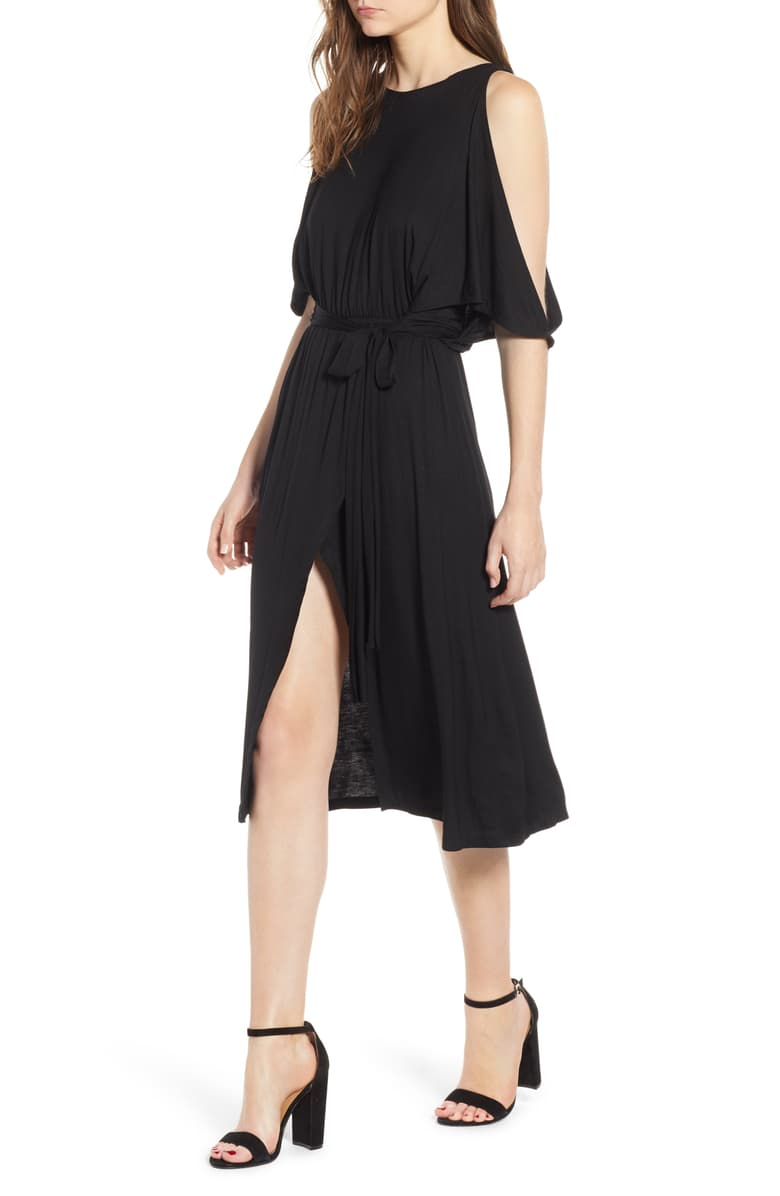 Slit Sleeve Black Wrap Dress
