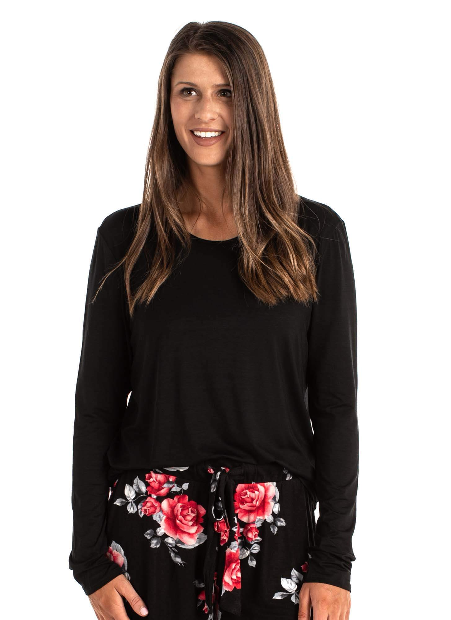 Blake Long Sleeve Basic Tee with Built in Bra Solid Black