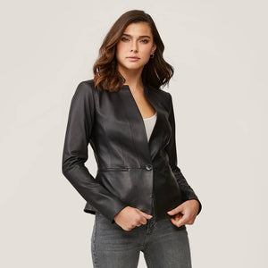 GENEVIEVE Slim-Fit  Leather Jacket
