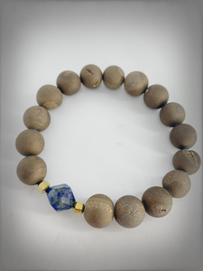 RAW COLLECTION - Lapis Polygon Stone with Gold Druzy Beads Bracelet