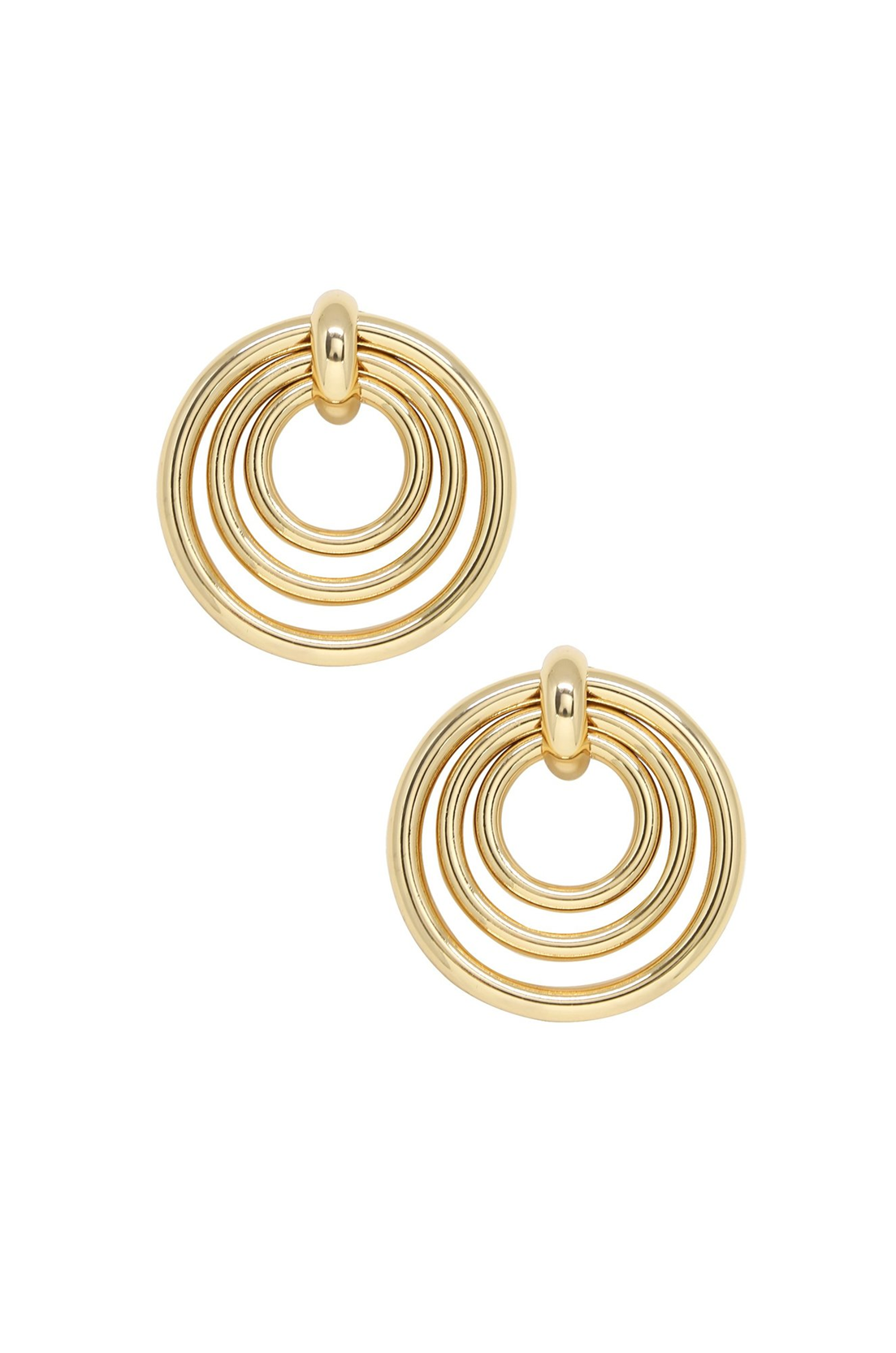 Layered Multi-Ring 18k Gold Plated Earrings