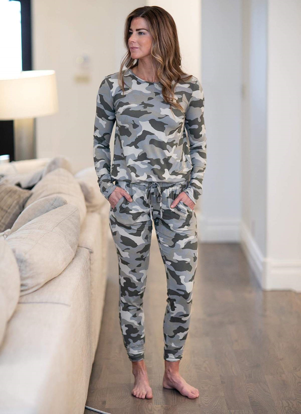Riley Jogger Pant with Drawstring Tie Camo
