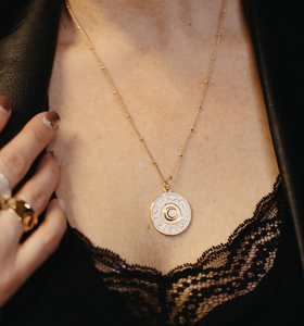 ENLIGHT COLLECTION - White Enamel Moon on Gold Chain