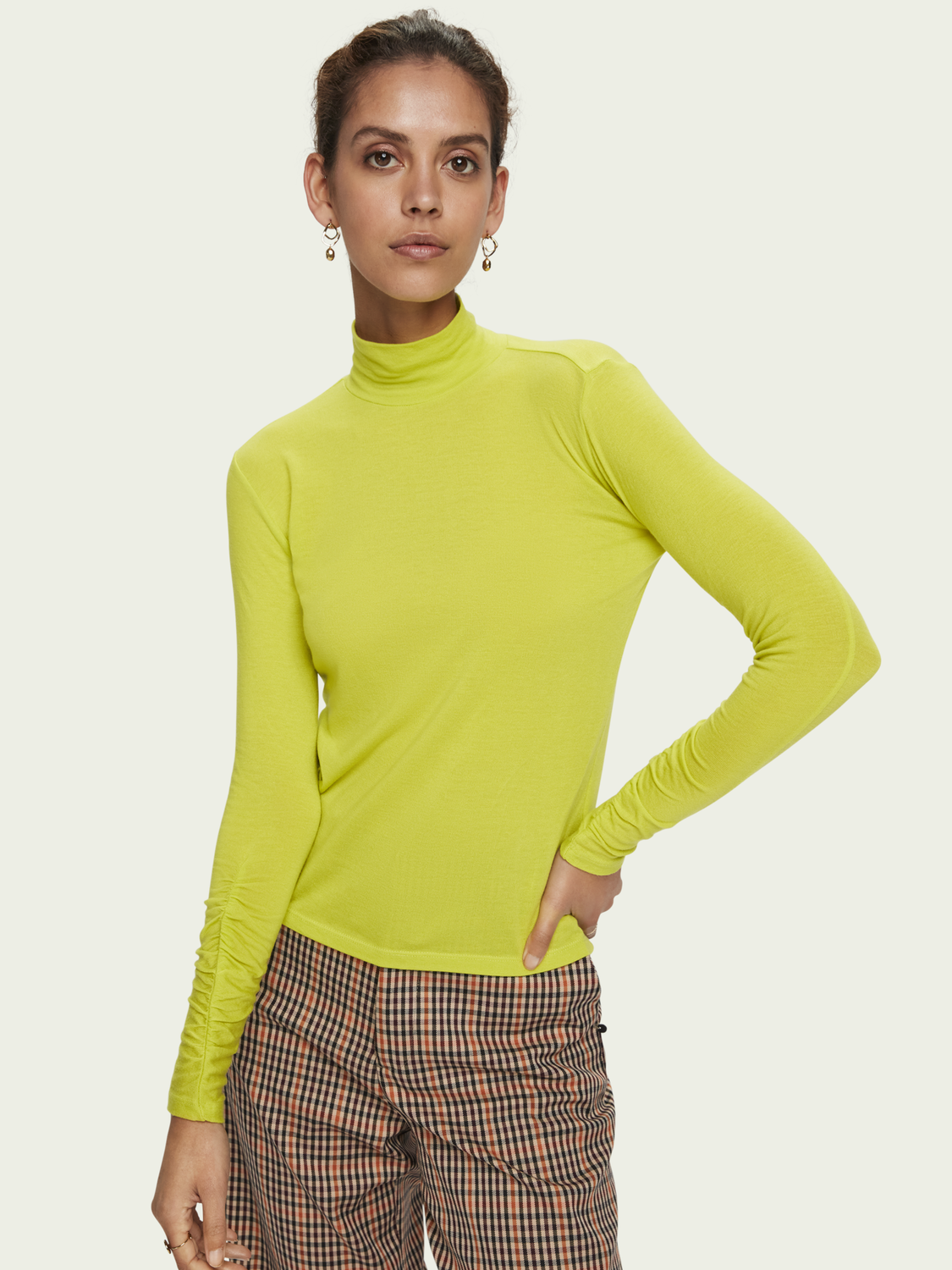 TENCEL Gathered Sleeve Turtleneck
