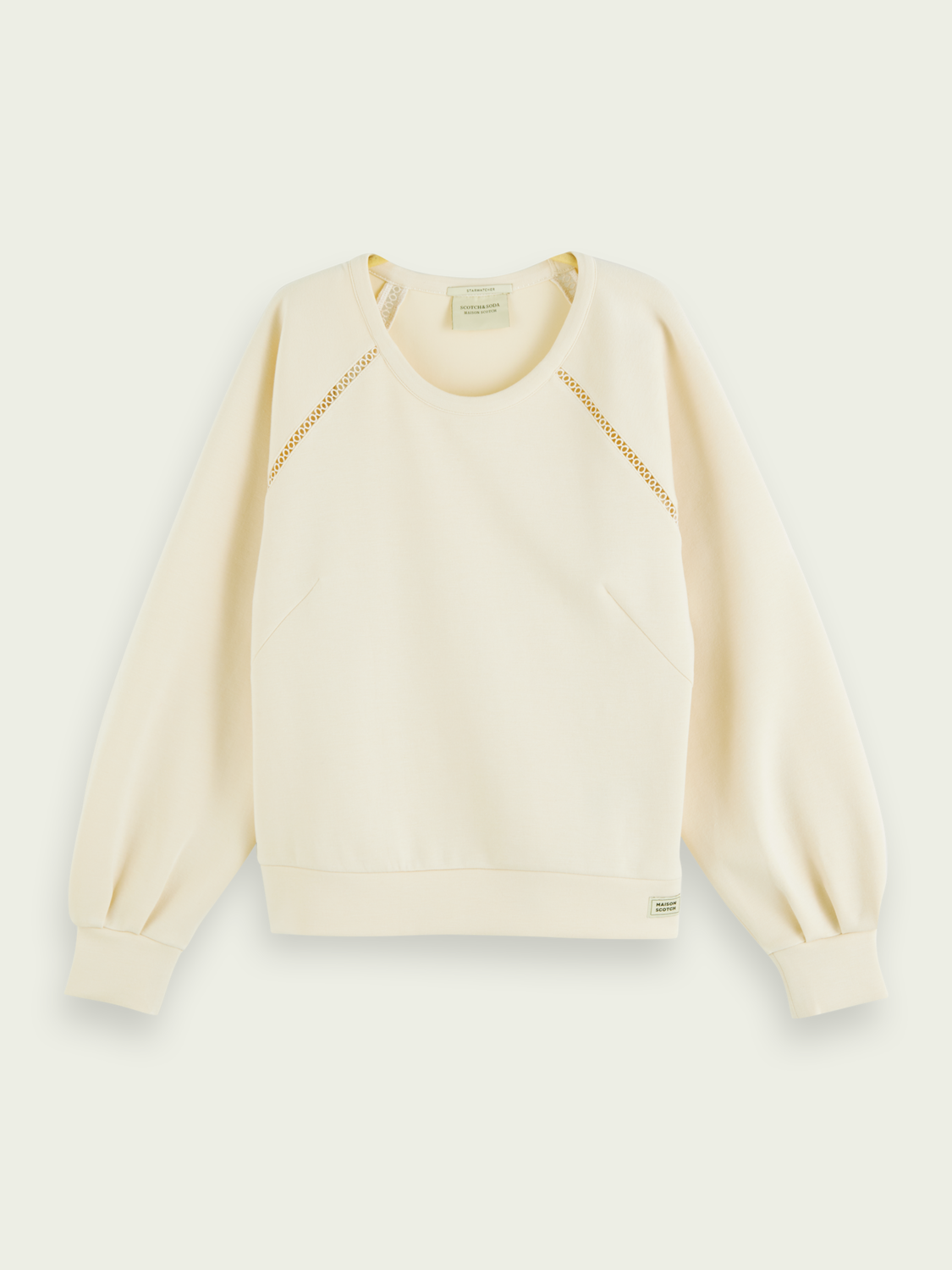 Soft Tape Detail Crewneck Sweater