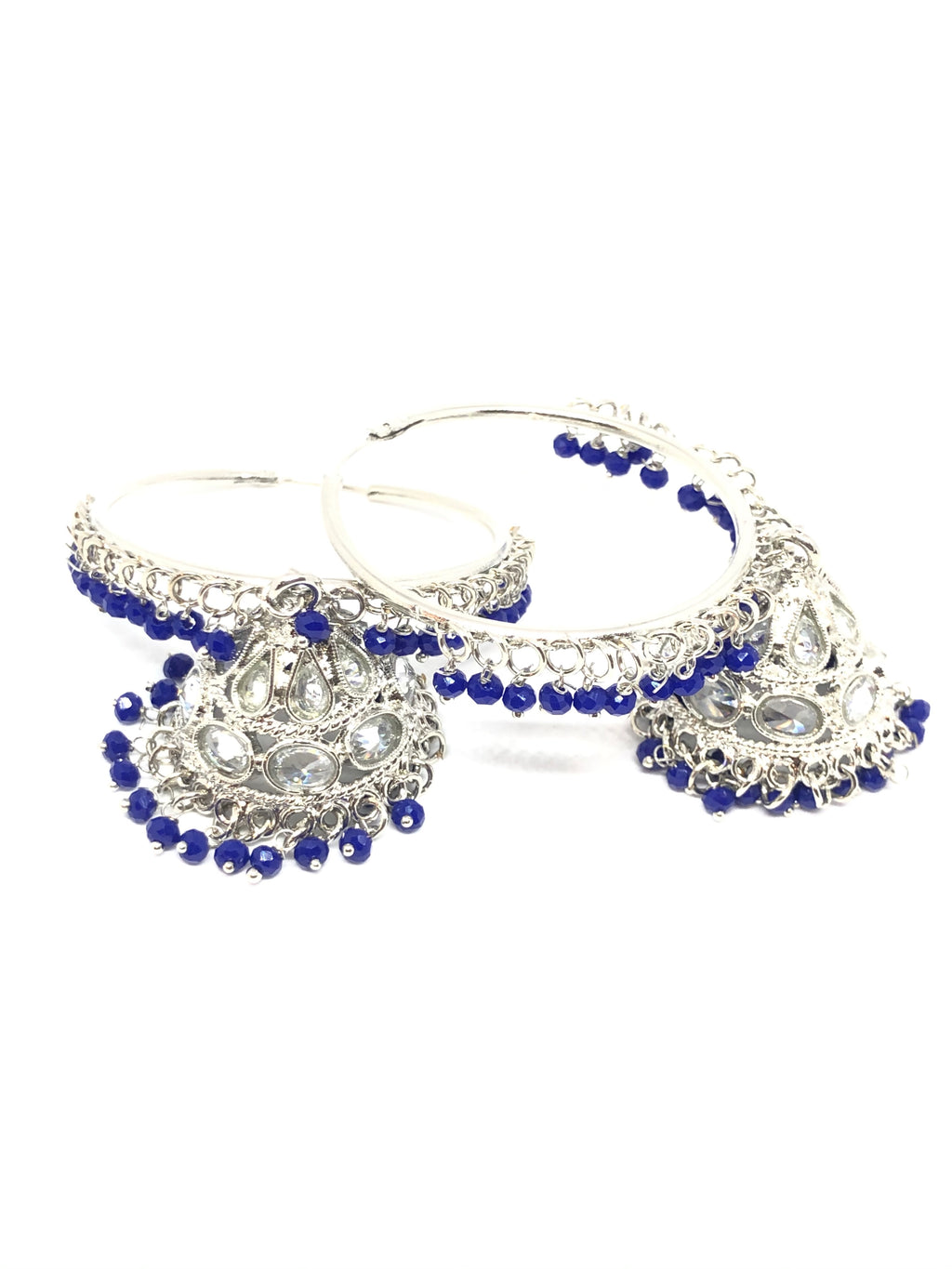 Silver Bali Hoop Indian Earrings in Blue