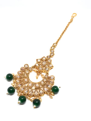 Jhoomar/Small Tikka Gold with Clear Stones & Green Beads
