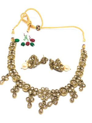 || AHANA PEARL || Gold Indian Necklace with Earrings in Champagne Pearls