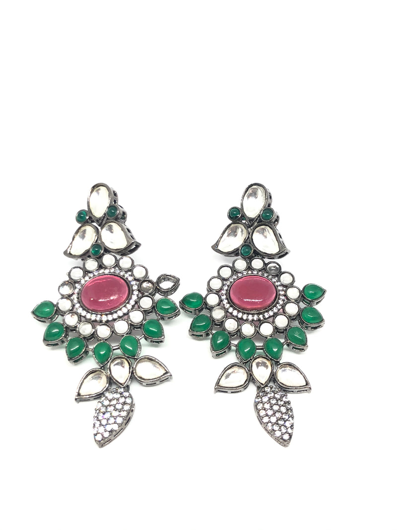Victorian Indian Kundan Style Pink & Dark Green Earrings