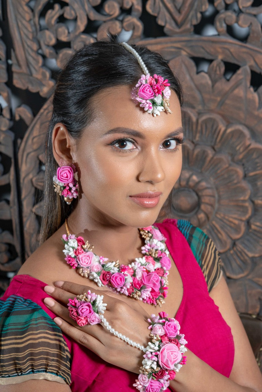 || NOVA || Floral Jewellery Pink and White with Earrings, Tikka & Hand Piece