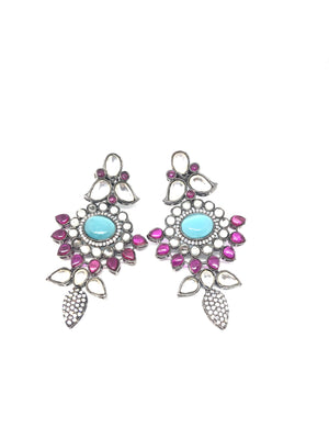 Victorian Indian Kundan Pink & Blue Earrings
