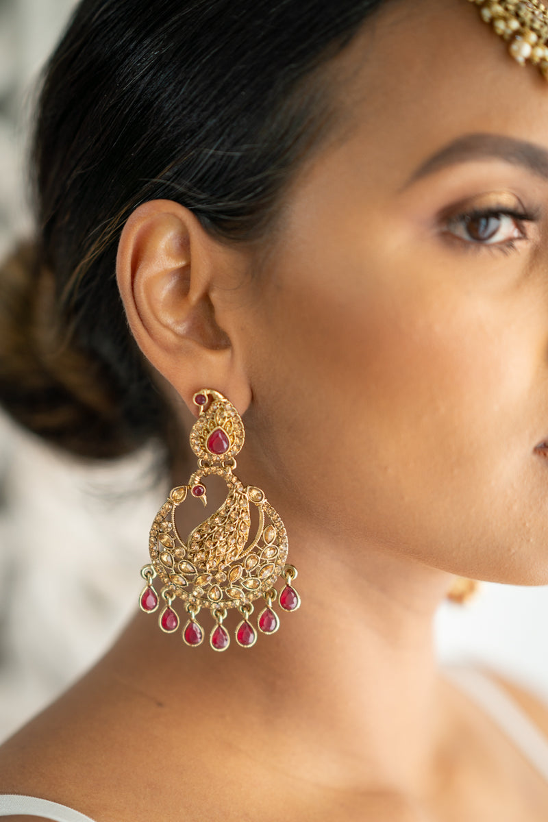 Pink on Gold Peacock Earrings