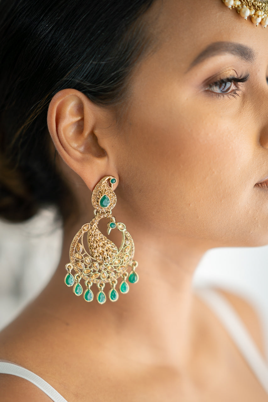 Green on Gold Peacock Earrings