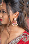 Red Meenakari Earrings & Tikka Set