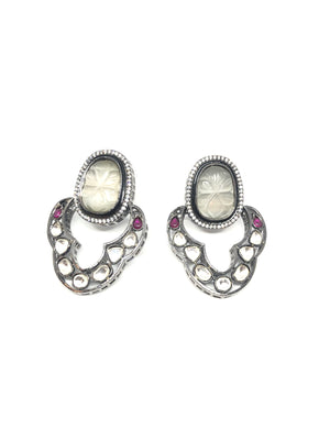 Victorian Indian Kundan Grey Earrings