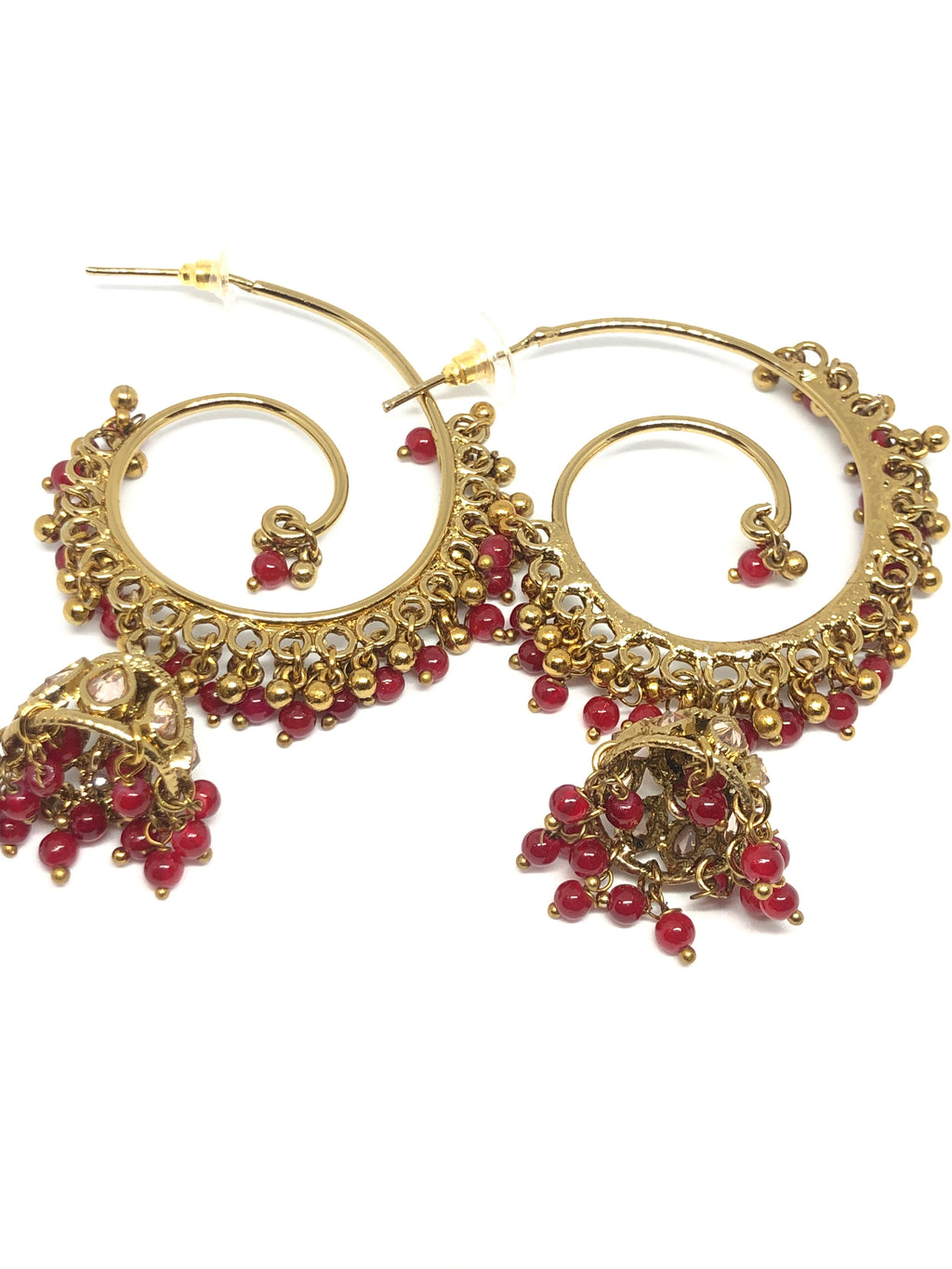 Red Gold Hoops