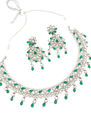 || SITARA GREEN || Flat Lightweight Silver Round Necklace with Earrings
